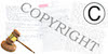 Image of a gavel and a copyright logo, a c inside of a circle, functioning as a link to view recording of Copyright and Fair Use workshop
